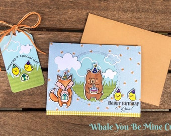 "Happy Birthday to you! Handmade card with matching ""Unwrap your special day"" gift tag! A2"