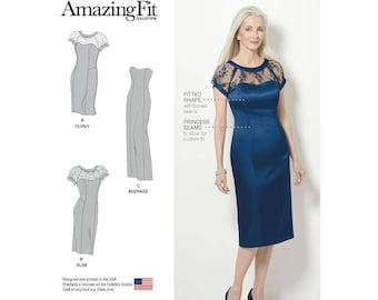 Simplicity 8163 Misses' and Plus BB (20W-28W) Amazing Fit Special Occasion Dress