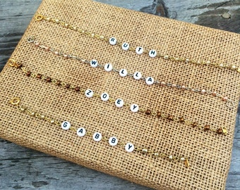 Metallic Beaded Name Bracelet