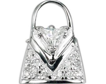 Sterling Silver Purse Handbag CZ Pendant PZ-8071
