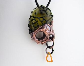 Pendentif en verre, pendentif en Borosilicate, en cuivre enivrants bijoux en verre, Murano électroforme, perle de verre soufflé à la main le Boro, Chunky Collier pendentif