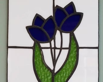 Blue Tulip Stained Glass