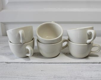 Vintage White  ironstone cups, 1950's, Restaurantware,  Diner cups,lot of 6 ,Vintage Stoneware, Coffee Cups