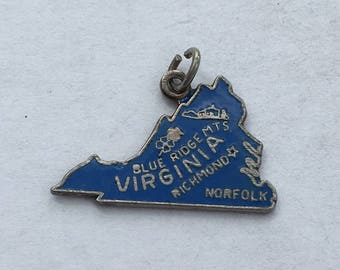 Virginia Travel Charm - Silver Vintage U.S.A. Bracelet Charm, Pendant.