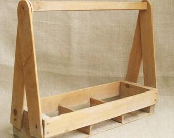 Vintage Wood Plant Basket, Carryall, Divided, Storage, Desk Organization, Garden, Carrying, Planter, Tote, Primitive, Rustic Decor