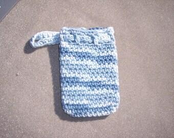 shaded blue striped handmade cotton crochet soap saver soap sack  -- 6