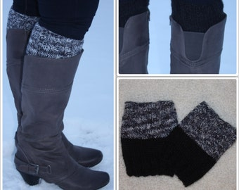Gray Sparkle/Black Reversible Women's Knit Boot Cuffs