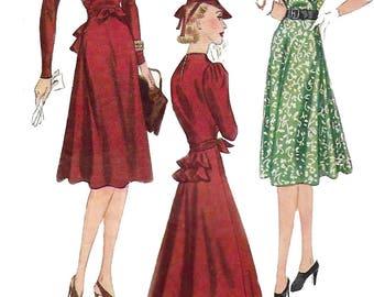 "Vintage 1940's Sewing Pattern Elegant Gathered Yoke Tea Dress Bustle Bust 32"" WWII WW2"