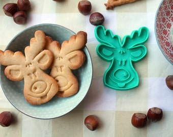 Christmas reindeer cookie cutter - Christmas cookie mold with the shape of a Santa's  reindeer -  Santa Claus's reindeer cookie mold