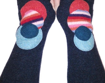 Felted Wool Cuffed Fingerless Gloves - made from recycled sweaters - gray with bright dots