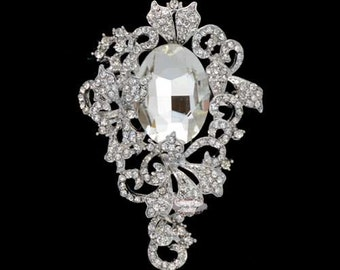 Rhinestone Brooch Embellishment - Silver - Rhinestone Brooch - Cake Bling - Wedding Brooch - Brooch Bouquet - Jewelry RD408