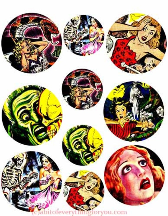 """vintage monster creature comics scared people clip art collage sheet 2"""" 3"""" inch circles digital instant downloadable printable images diy"""