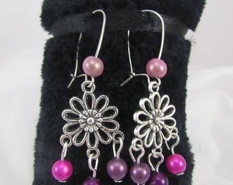 "Earrings ""Flowers & shades of purple"" REF BO118"