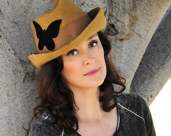 Brown felt hat, felt hat with black butterfly, warm brown felt hat