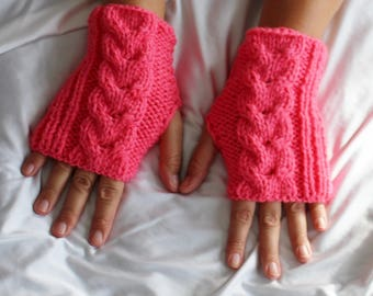Fingerless Gloves - Pink Gloves - Wrist Warmers  - Ready to ship