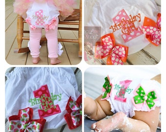 First Birthday Bloomers -- Birthday Girl bloomers to match any Darling Little Bow Shop set