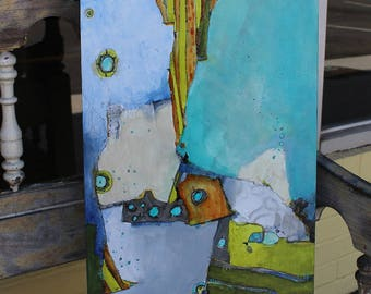 """Original Modern Art Abstract Zen Painting   cradled 12 x 24 Blues greens gray  """"The Tipping Point"""" by Jodi Ohl"""