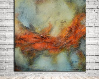 Large orange gray Abstract original painting, original painting textured, office lobby decor, large canvas art, one of a kind original art