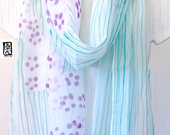 Hand Painted Silk Scarf, Large Silk Scarf, Purple and Pink Sumi Wildflowers, Large Silk Scarf. Chiffon Scarf. 14x70 in. Made to order.
