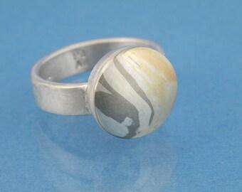 Gold silver palladium Solitaire ring Mokume Gane // handmade wood grain in metal // single piece