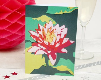 Waterlillies Greetings Card - Mexican Water Lily Pond Garden Card - Nymphaea Flower Birthday Cards - Cards for Gardeners - Gardening Gifts