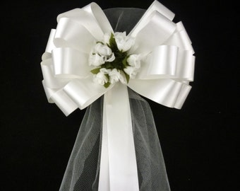 """White Wedding Pull Pew Bows with Tulle Tails and Rosebuds Decorations - 8"""" Wide, Set of 6"""