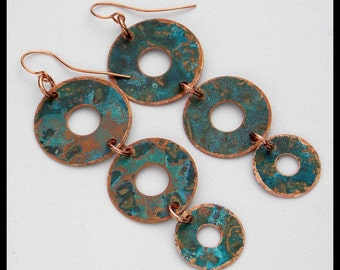 AZUL on COPPER - Handforged 3 Section Patinated Copper Long Statement Earrings