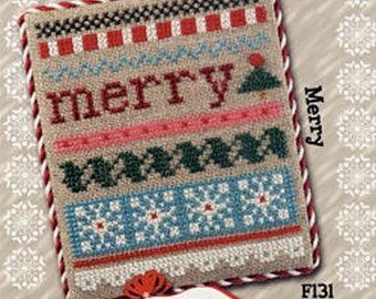 Lizzie Kate Flip-It Jingles - Merry F131 - Christmas Counted Cross Stitch Pattern Chart, embellishment