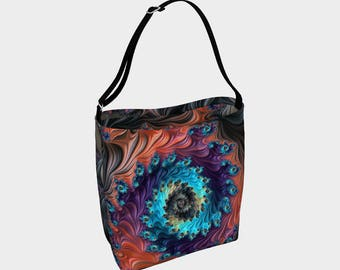 Grand Spiral Fractal Pattern Large Bag, Large Tote
