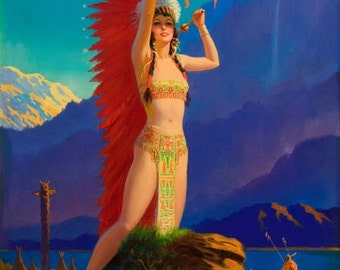 EGGLESTON Largest Canvas DRUM SONG Art Deco American Indian Maiden Maid calendar Pinup Canvas Giclee Modern 20th century pin-up Craftsman