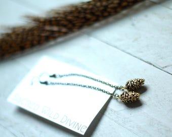 antiqued brass pine cone earrings / dangle earrings / nature lover pine cone / pinecone earrings / tree lover