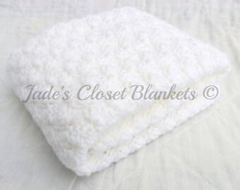 Crochet Baby Blanket, White Baby Blanket, Cloud White, Christening Blanket, crib size