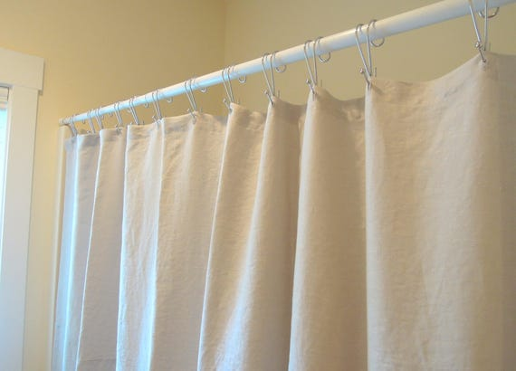 Great Linen Shower Curtain, Washed Linen Shower Curtain, Long, Bathroom, White,  Oatmeal, Navy, Grey, Ivory, Joy1