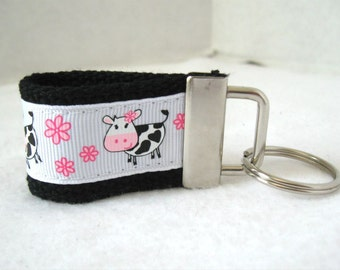 Cow Mini Key Fob - Cute Cows Key Ring - BLACK Key Chain - Cow Zipper Pull - Farm Animal Keychain