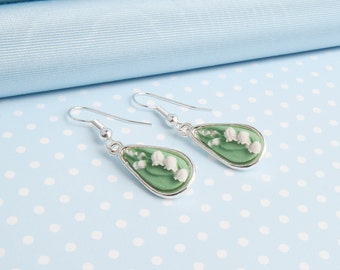 Lily of the Valley cameo earrings