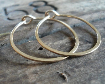 1 inch 14kt Goldfill Hoops - Handmade. Handforged