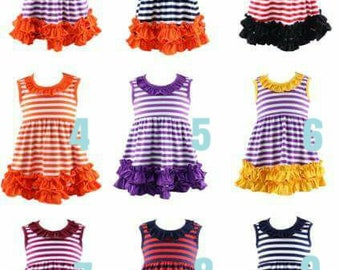 PREORDER striped ruffle dresses. Add Name, Monogram, Applique, Fall, Football Halloween, Thanksgiving. Arrive in August. Personalize