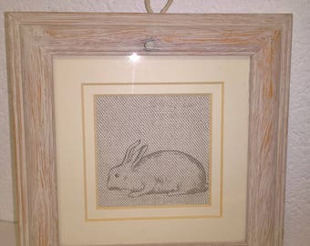 Bunny picture - upcycled