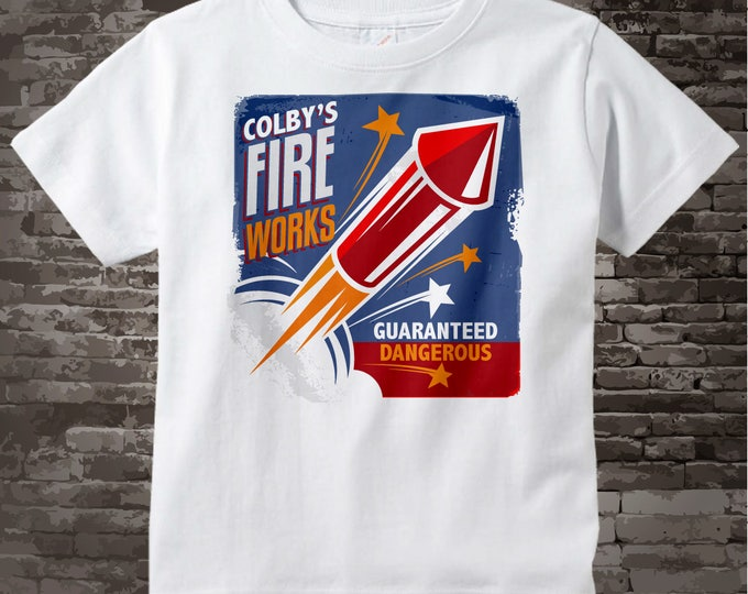 Fake Fireworks Company Logo t-shirt or Onesie bodysuit with your child's name 06242015b