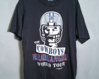 1994 Dallas Cowboys HEADBANGER World Tour NFL Black Tee Sz Large Fan  Apparel Football Texas 90s eca05ec84