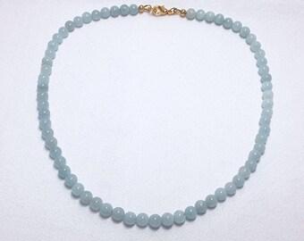 Genuine Aquamarine, Gemstone Necklace, Unisex Jewelry, Mint Necklace, Blue Green Necklace, Men's Necklace