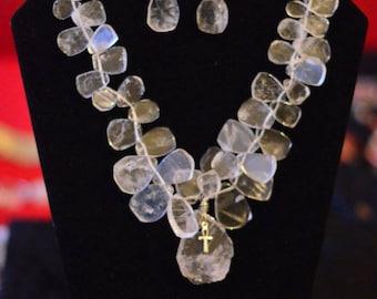 Statement Clear Quartz Petals Necklace Set