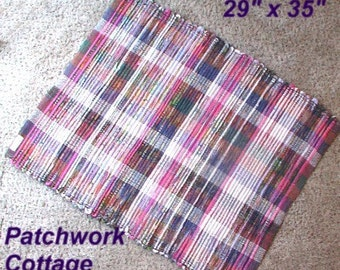 Handwoven --- Patchwork Cottage --- Hit N Miss Rag Rug --- Multi colored rag rug --- 35x29