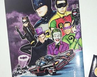 Batman Magnet (The Dark Knight, Cat Woman, The Penguin, Joker, Two Faced, Robin, Batmobile, Gotham City, Art, Print, Painting, 1966)