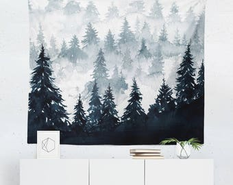 Watercolor Tapestry | Dorm | Watercolor Wall Tapestry | Watercolor Wall Décor | Watercolor Wall Art | Forest Tapestry | Forest Wall Tapestry