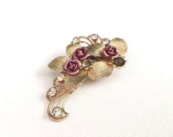 Vintage Rose No.4 - Vintage Rhinestone Rose and Gold Bridal Assemblage hair clip, Romantic Rustic Rose Wedding Headpiece