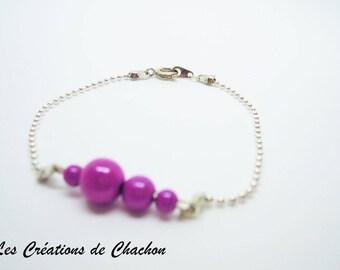 Caterpillar bracelet pink magic beads