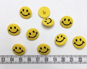 20 pcs of Yellow Smiley Button - 15mm LAST SET
