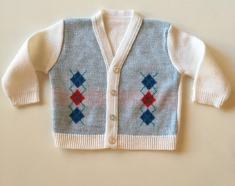 Vintage Argyle Cardigan Sweater for Baby Boy