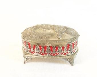 Vintage Jewelry Box - Oval ornate silver Jewelry Trinket box -